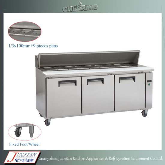 Cheering Commercial Stainless Steel Pizza Worktable Pre Work Table Chiller Freezer Refrigerator