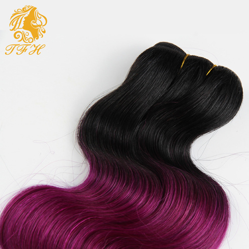 7A Brazilian Virgin Hair Ombre Hair Body Weave 1b/Violet Short Bob Hair Weave Full Head 6 PCS Lot Orange Ombre Human Hair pictures & photos