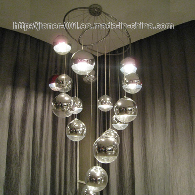 Luxury Hotel Lobby, Stairs Glass Chandelier Pendant Lamp Lighting with Chrome Glass Ball Shade pictures & photos