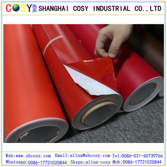 China Red Matte Finish Self Adhesive Vinyl For Cutting