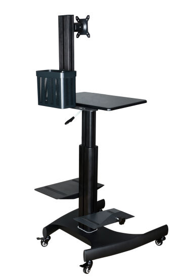 "Mobile Computer Workstation Gas Lift/Trolley Single Monitor 10-24"" Adjustable (GAS 1601) pictures & photos"