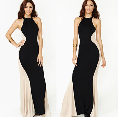 Sexy Strapless Splicing Black Womens Maxi Wedding Dress pictures & photos