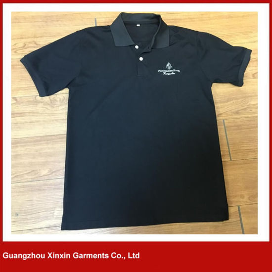 Good Quality Cotton Black Blank Plain Short-Sleeve Men T-Shirt (P139)