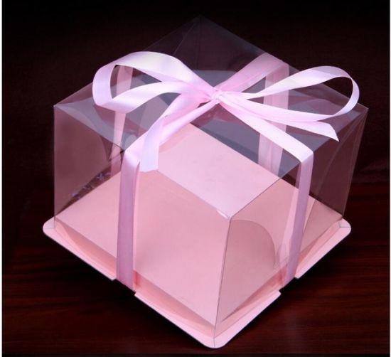 Customized Clear Pet High Quality Birthday Cake Plastic Box