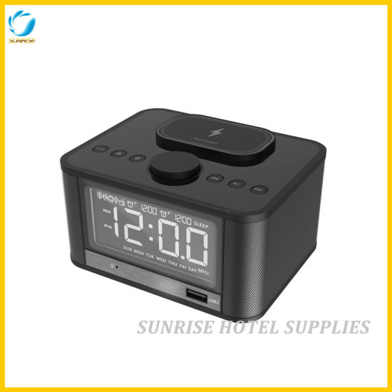 5 Star Hotel Wireless Charging Bluetooth Alarm Clock pictures & photos