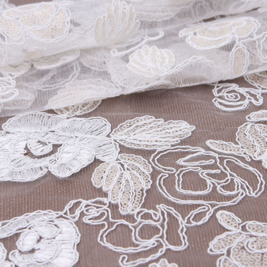 Corded Embroidered Tulle Mesh Wedding Lace Fabric