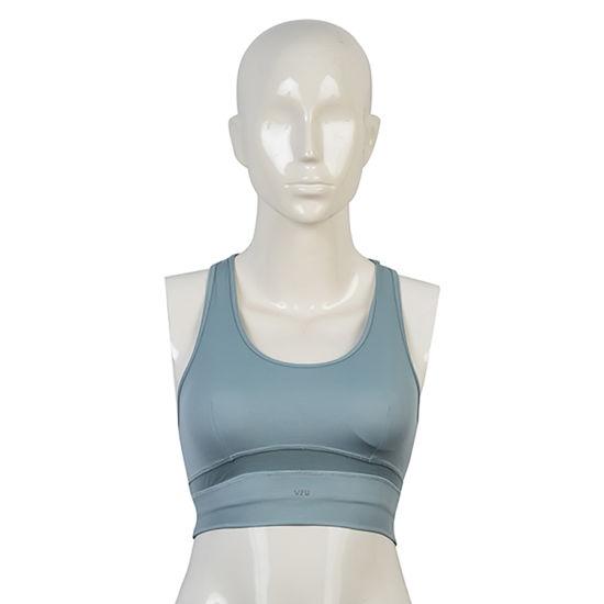 Women's Running Gym Yoga Fitness Stretch Mesh Fabric Blue Sport Crop Bra Top
