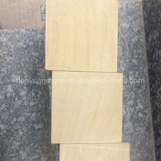 Popular China Yellow Wood Sandstone for Wall Cladding/Paving Stone pictures & photos
