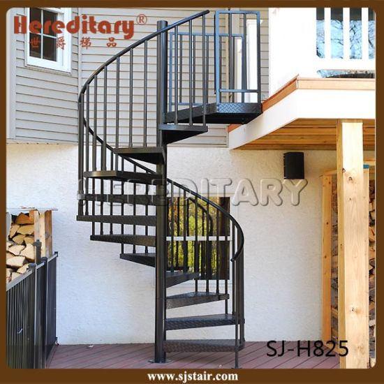 Black Color Mild Steel Spiral Staircase Outdoor