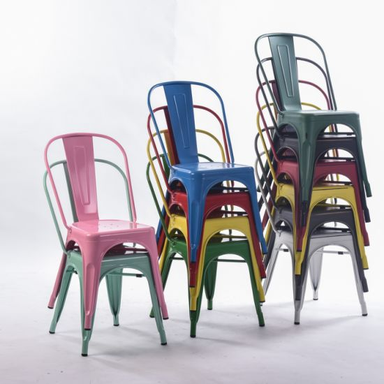 Multicolor Metal Dining Indoor-Outdoor Use Stackable Industrial Tolix Chair pictures & photos