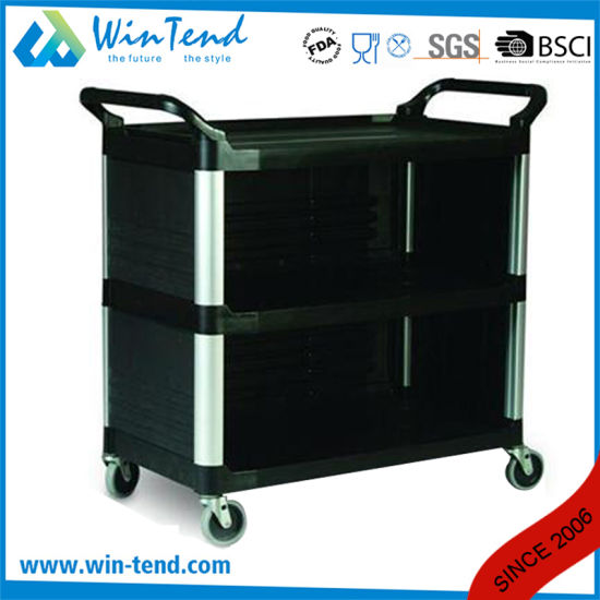 Hot Sale 3 Tiers Sided Service Plastic Trolley pictures & photos