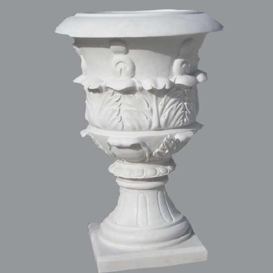 Outdoor Carved Marble Stone Flower Pot Garden Decoration