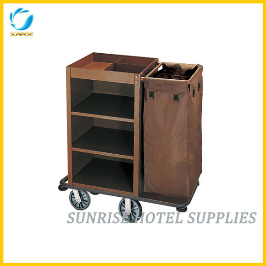 Powder Coating Finish Housekeeping Cart Service Trolley for Hotel