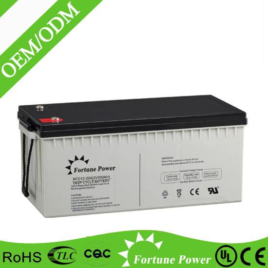 12V200ah Deep Cycle Gel Battery for Solar Power System