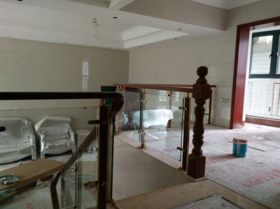 Chinese and American Style Indoor Wood Stainless Steel Glass Handrail pictures & photos
