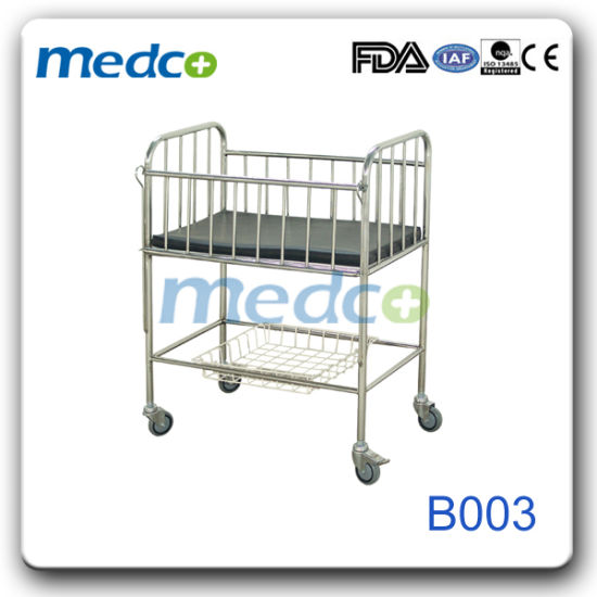 Stainless Steel Baby Crib with Cross Brake