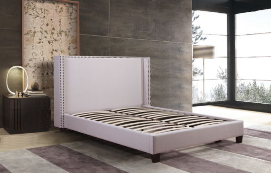 Upholstered Bed with Polyester Fabric for Bedroom Furniture