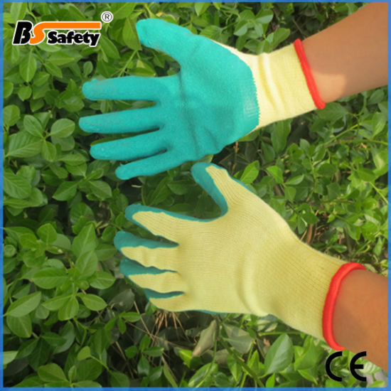 Best Quality Crinkle Latex Coated Working Safety Gloves Cotton Knitting Gloves with Coating