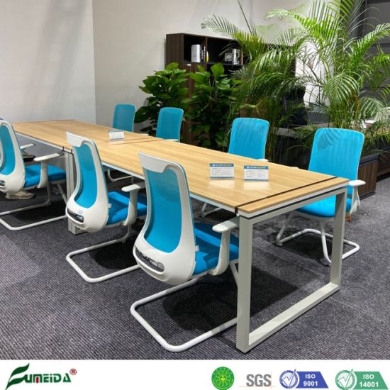 Wholesale Modern Simple Melamine Meeting Desk Metal Frame Conference Table