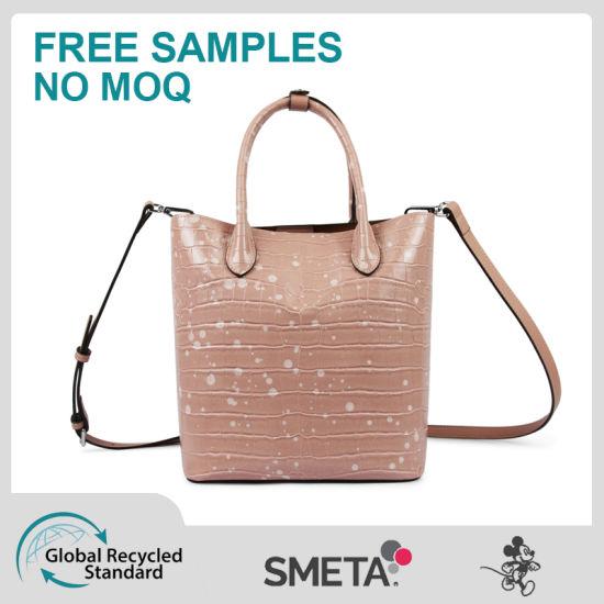 Pink Crocodile-Print Handbag Cross-Body Bag