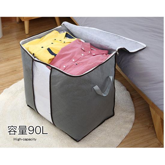 Retangular Cotton Fabric Shopping Quilt Clothes Blankets Shoe Travel Suit Dress Garment Cosmetic Storage Bag