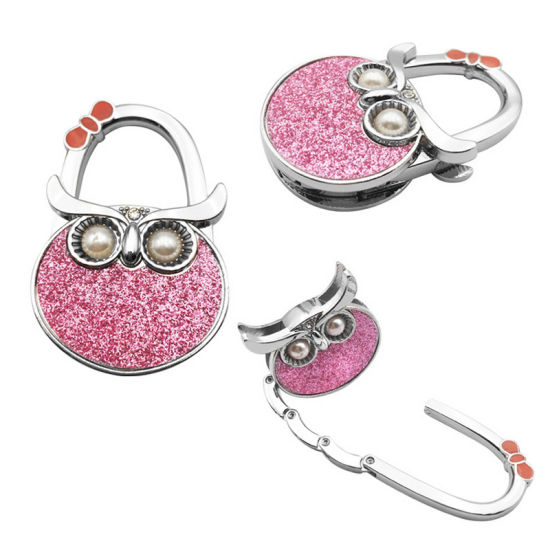 New Design Custom Beautiful Accessories Owl Key Finder Keychain Key Chain Garment Bag Hanger with Pink Glitter (009)