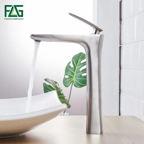 Flg Brushed Nickle Modern Single Handle Popular Bathroom Lavatory Basin Faucet/Tap