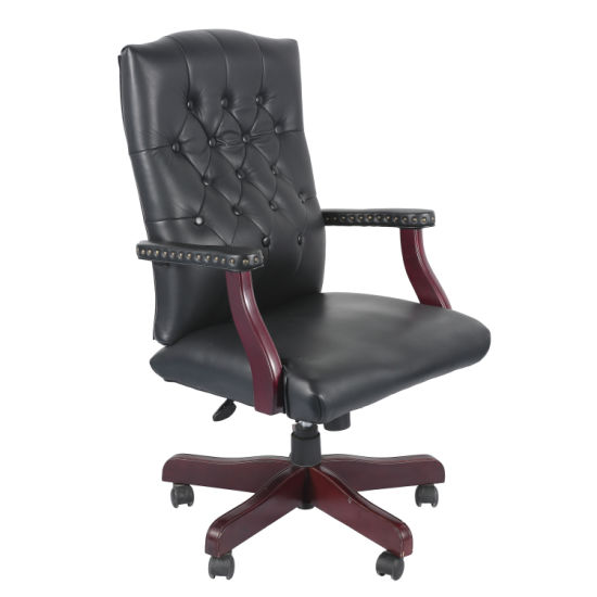 American High Back Office Furniture With Decorative Nail Trim And Grain Leather Upholstered