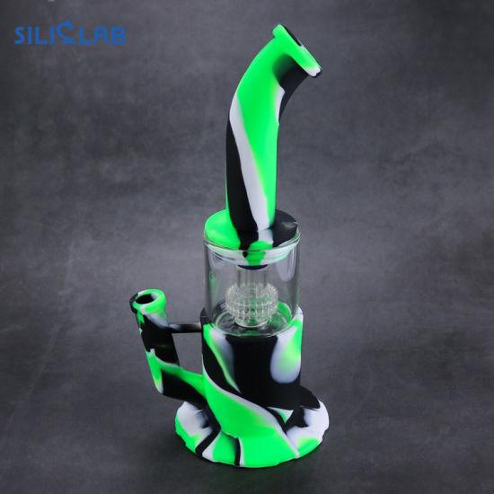 Luxury Custom Logo Silicone DAB Rig Glass Vapor Water Pipes Smoking Weed