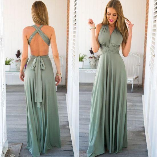 7a18ac7495b Women Long Dress Summer Party Sexy Sleeveless Halter Dress with a Variety  of Wear Methods (