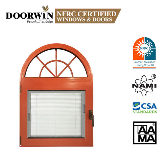 Wooden Color Aluminum Fixed Arch Top Windows