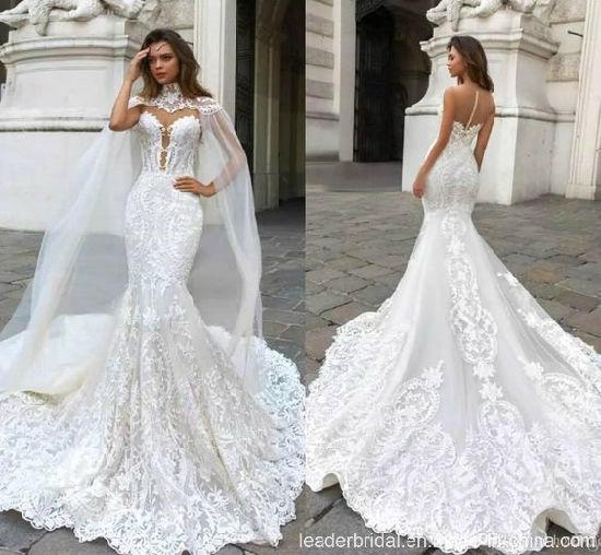 Custom Lace Mermaid Bridal Gown Long Cap Sleeves Shawl Wedding Dress Yao79
