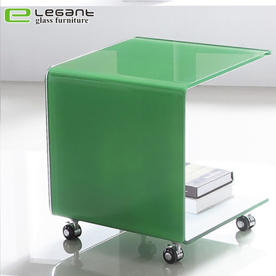 China C Shape Green Glass Side Table With Wheels China Coffee