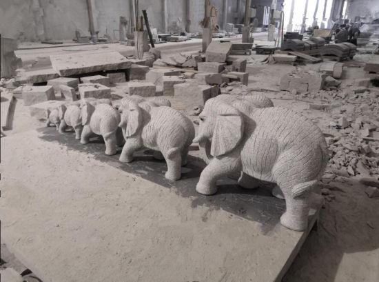 Natural Stone Grey Granite Elephane Sculpture SF-ST-017 for Garden Landscape