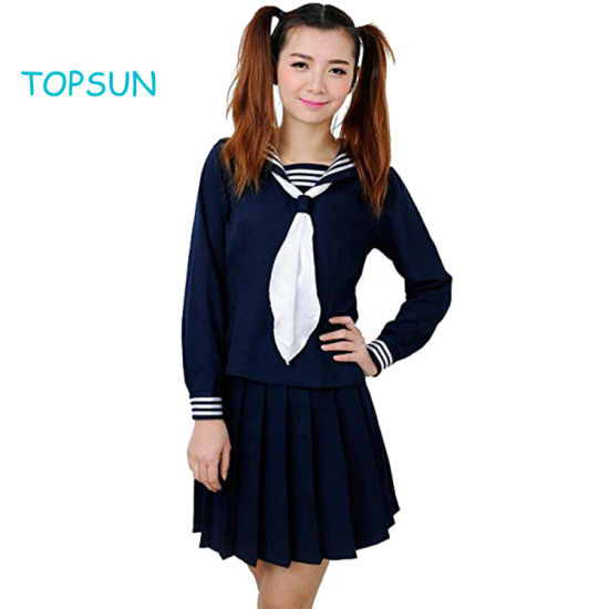 College Girls' Uniform Navy Sailor School Uniform Dress Sprint and Autumn Long Sleeve Skirt Suit