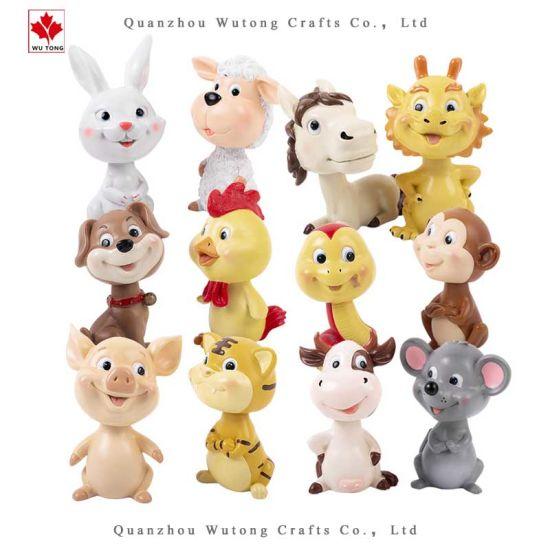 Custom Resin Crafts Decor Chinese Animals Bobble Head Figurine