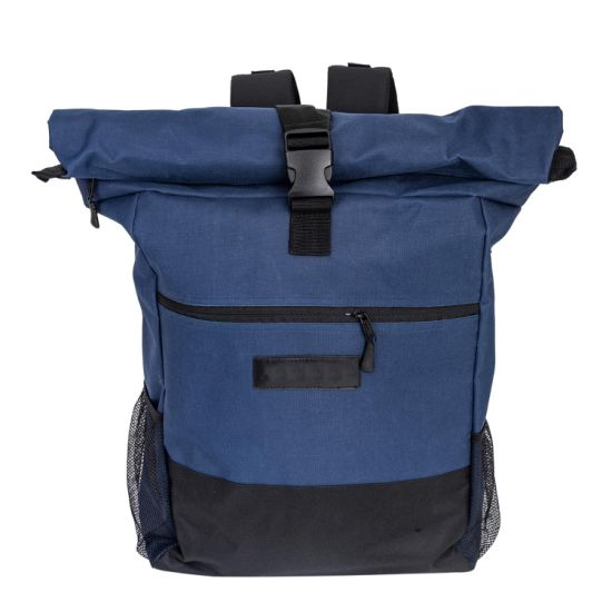 Rolltop Multicolor Polyester Blue Backpack Bag Men & Women I Daypack with Laptop Compartment 20 L to 30 L Ideal for School, University, Job, Travel and Sport