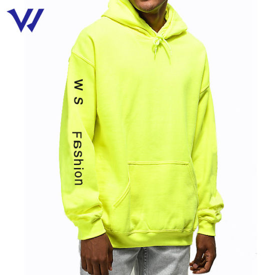High Quality Custom Printed Logo Hoodie Manufacturer Yellow 50% Cotton 50% Polyester Pullover Hoodie