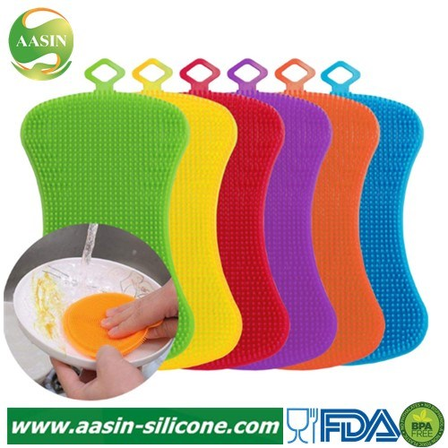 Useful Silicone Dish Washing Sponge Scrubber Kitchen Cleaning Antibacterial Tool