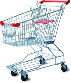 Stainless Steel Wheelbarrow/Portable Hand Push Shopping Trolley Cart with Chair