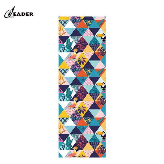 Anti Slip Foldable Organic Natural Rubber Suede Microfiber Printed Custom Logo Eco Friendly Pilates Yoga Mat with Carrying Strap
