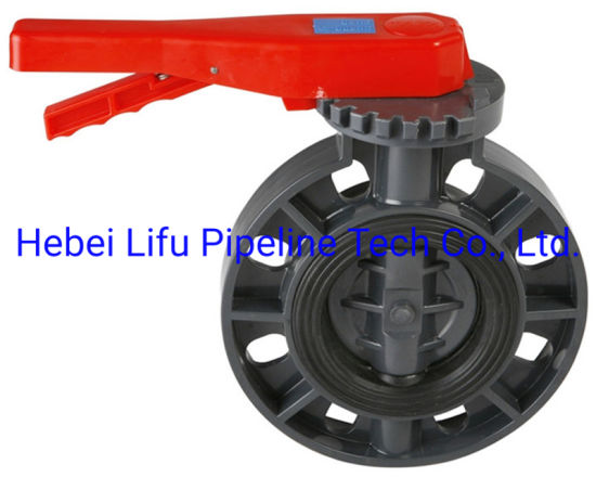 High Quality Plastic Butterfly Valve UPVC Wafer Worm Gear Butterfly Valve PVC Butterfly Valve Level for Water Supply DIN Standard