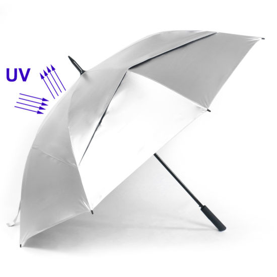 30′ ′ Promotional/Gift/Bestselling Double Layer Fibreglass Upf 50+ Anti UV Silver Coated Sun Protection Golf Umbrella Wholesale