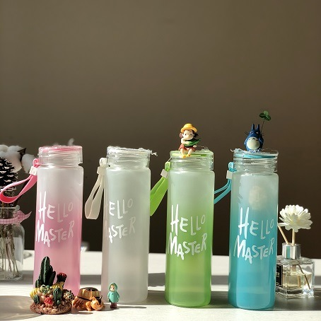 Clear & Frost My Bottle Water Glass Bottle Wide Mouth Colored Cap 480ml 2020