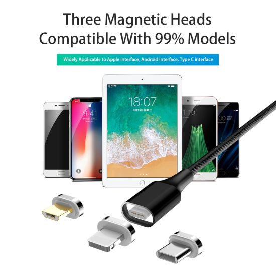 Wholesale 3 in 1 3A Fast Magnetic Charging Cable Data Transfer Mobile Phone Accessoriesmagnetic Charger Cable for iPhone and Android
