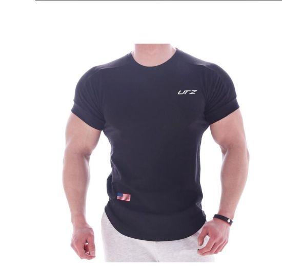 Wholesale Blackaround Collar Screen Print Tees 100% Cotton Tshirt