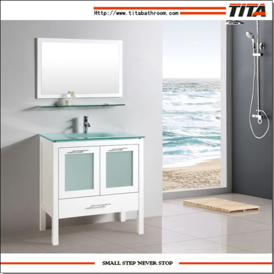 China Honed White Bathroom Vanity Cabinet With Frosted Glass Doors