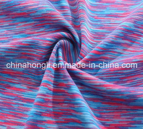 High Quality Poly/Spandex 92/8 Space Dyed Yarn Yoga Knitting Lycra Fabric for Yoga