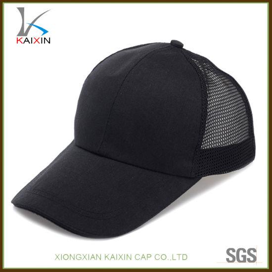 China Custom 6 Panel No Logo Blank Cotton Trucker Mesh Cap Hat ... 293efaeac95