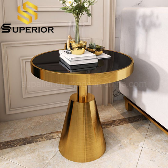 China Luxury Black Glass Top Round Gold Frame Side Table China Corner Table Modern End Table